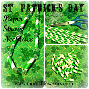 Paper Straws Necklace – DIY St. Patricks's Day