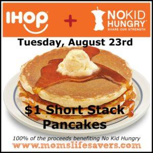 IHOP Restaurants Sell $1 Short Stacks on August 23rd